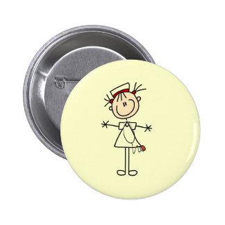 White Female Stick Figure Nurse 2 Gifts 6 Cm Round Badge