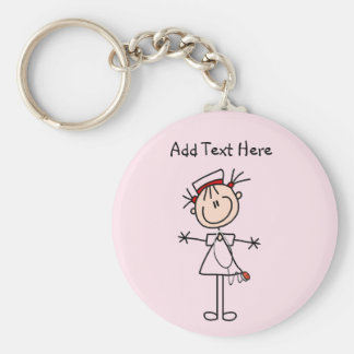 White Female Stick Figure Nurse 2 Gifts Basic Round Button Key Ring