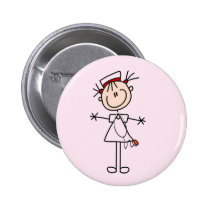 White Female Stick Figure Nurse 2 Gifts Buttons