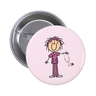 White Female  Stick Figure Nurse T-shirts and Gift 6 Cm Round Badge