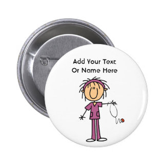 White Female  Stick Figure Nurse T-shirts and Gift 6 Cm Round Badge