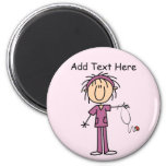 White Female  Stick Figure Nurse T-shirts and Gift 6 Cm Round Magnet