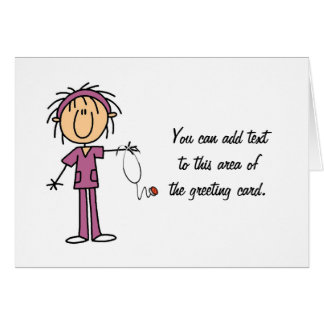 White Female  Stick Figure Nurse T-shirts and Gift Greeting Card