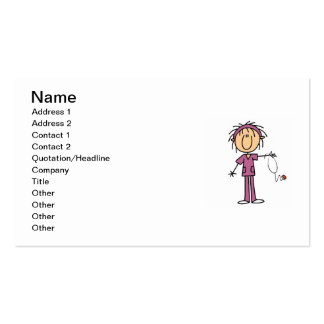 White Female Stick Figure Nurse T-shirts and Gifts Pack Of Standard Business Cards