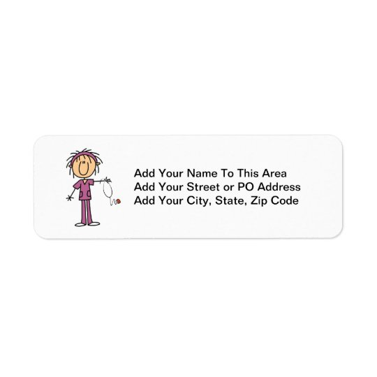 White Female Stick Figure Nurse T-shirts and Gifts Return Address Label