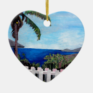 White Fence at English Harbour Antigua West Indies Ceramic Heart Decoration