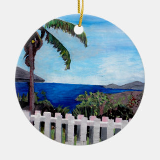 White Fence at English Harbour Antigua West Indies Christmas Tree Ornament