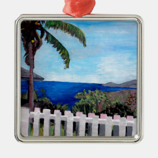White Fence at English Harbour Antigua West Indies Christmas Tree Ornaments