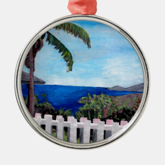 White Fence at English Harbour Antigua West Indies Silver-Colored Round Decoration