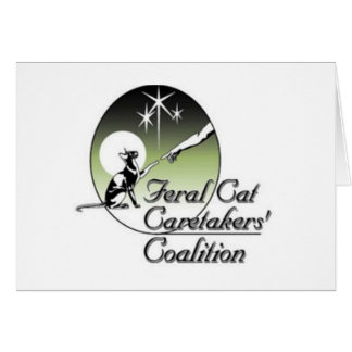 White Feral Cat Logo Greeting Cards