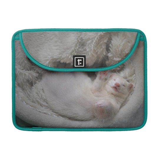 White Ferret MacBook sleeve & blue peacock  colour