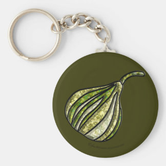 White Fig Basic Round Button Key Ring