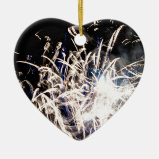White fire ceramic heart decoration