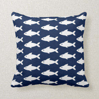 White Fishes on Navy Blue Nautical Throw Pillow