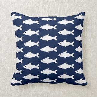 White Fishes on Navy Blue Nautical Throw Pillow