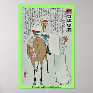 White flag by Kobayashi,Kiyochika Posters