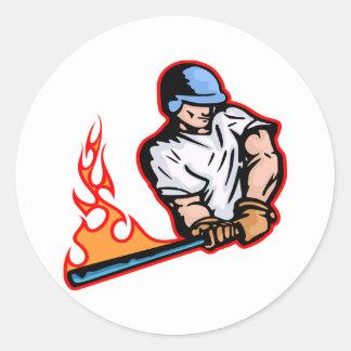 White Flaming Baseball Batter Round Sticker