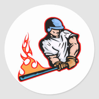 White Flaming Baseball Batter Round Stickers