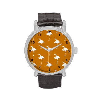 White Flamingo on Burnt Orange Wristwatch