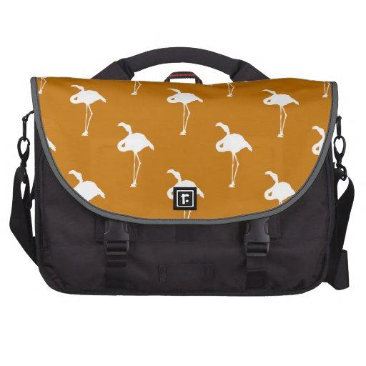 White Flamingo on Burnt Orange Laptop Computer Bag