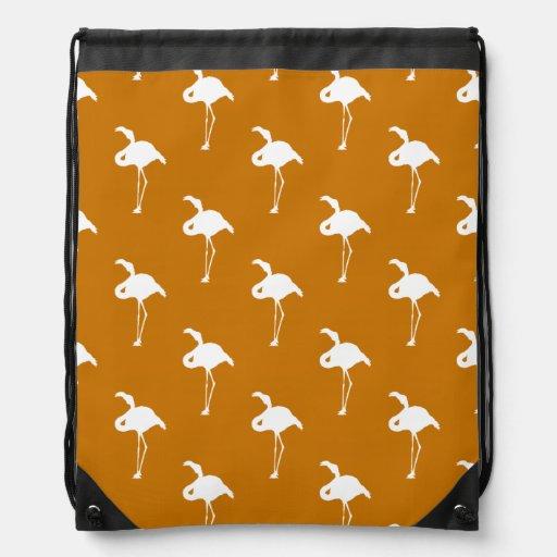 White Flamingo on Burnt Orange Cinch Bag