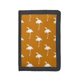 White Flamingo on Burnt Orange Wallets