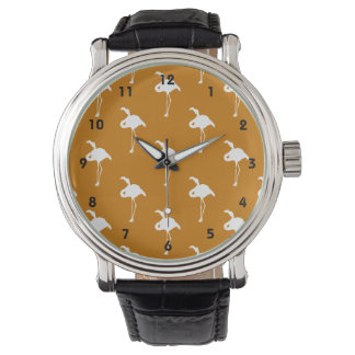 White Flamingo on Burnt Orange Watch