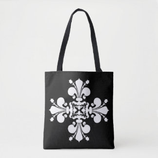 White fleur de lis on black tote bag