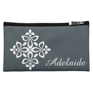 White Fleur De Lis on Vintage Blue Cosmetic Bag