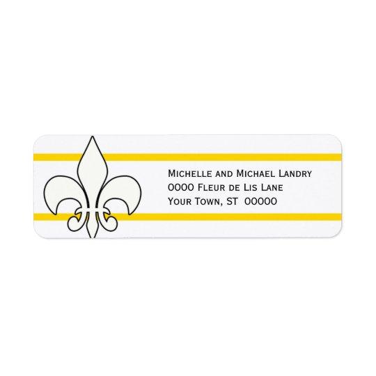 White Fleur de Lis with Gold Stripes Return Address Label