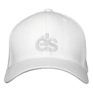 White Flex Fit Cap w/ white E1S logo Embroidered Hats