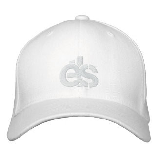 White Flex Fit Cap w/ white E1S logo Embroidered Hats