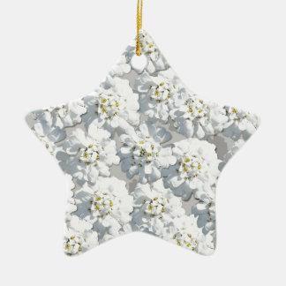 White Flora Pattern Ceramic Star Decoration