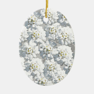 White Flora Pattern Christmas Ornament