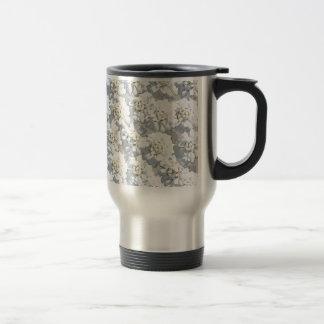 White Flora Pattern Travel Mug