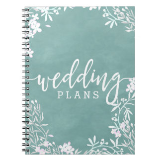 White Floral Any Color Watercolor Wedding Planner Spiral Notebook