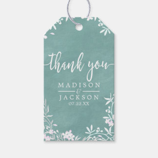 White Floral Any Color Wedding Thank You Gift Tags