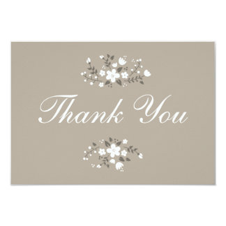 White Floral Beige Stylish Flat Thank You Card Custom Invite