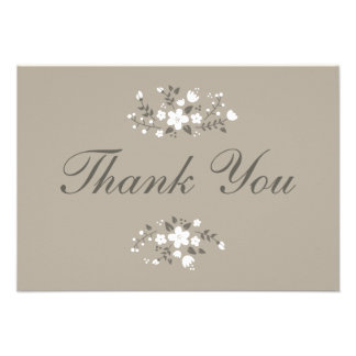 White Floral Beige Stylish Flat Thank You Card