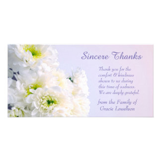 White Floral Bouquet Sympathy Thank You Photo Card Template