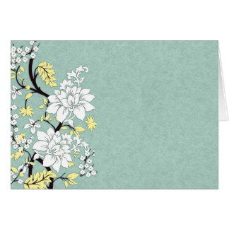 White Floral Branch, Sage Green Greeting Card