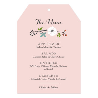 White Floral Branch Wreath | Menu Pink 5x7 Paper Invitation Card