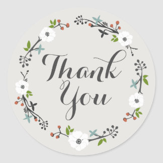 White Floral Branch Wreath | Thank you Sticker
