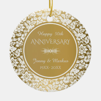 White Floral Damask- 50th Wedding Anniversary Christmas Ornament