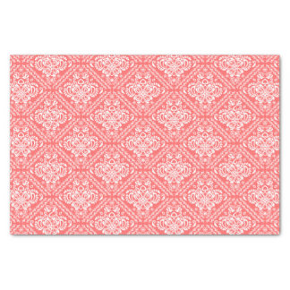 "White Floral Damasks & Coral-Red Background 10"" X 15"" Tissue Paper"