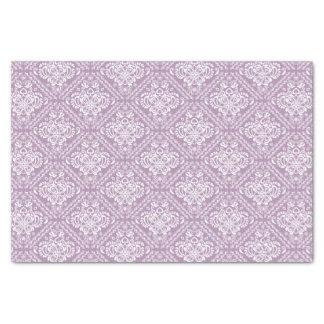 "White Floral Damasks & Plum Purple Background 10"" X 15"" Tissue Paper"