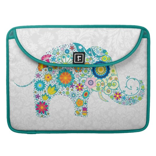 White Floral Damasks Retro Floral Elephant. Sleeve For MacBook Pro