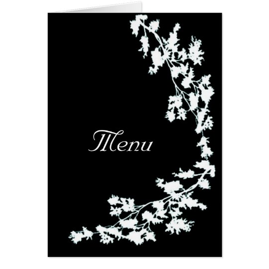 White Floral Deco Wedding Menu Card