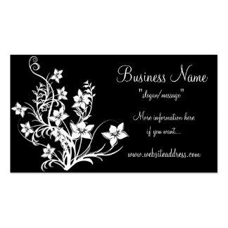 White Floral Design on Black Business Cards