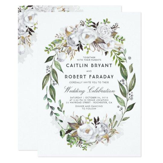 White Floral Elegant   Watercolor Greenery Wedding Card